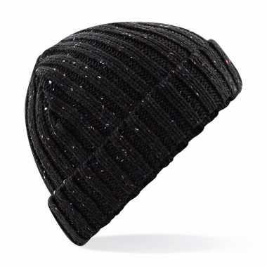 Gebreide schaatsmuts zwart