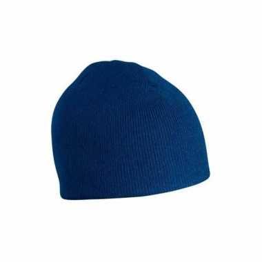 Gebreide wintermutsen donkerblauw voor dames