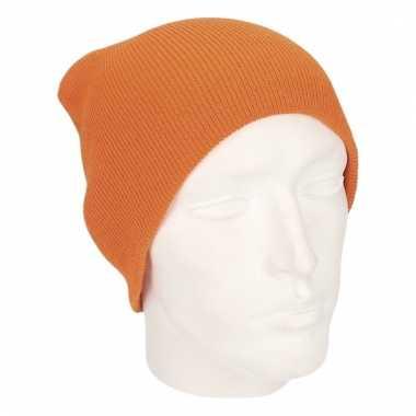Gebreide wintermutsen oranje voor heren