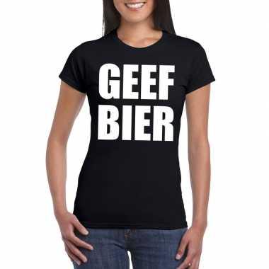 Geef bier dames t-shirt zwart