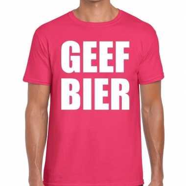 Geef bier t-shirt roze heren