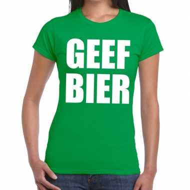 Geef bier tekst t-shirt groen dames