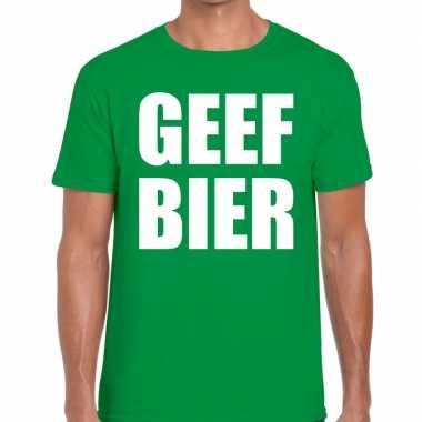 Geef bier tekst t-shirt groen heren