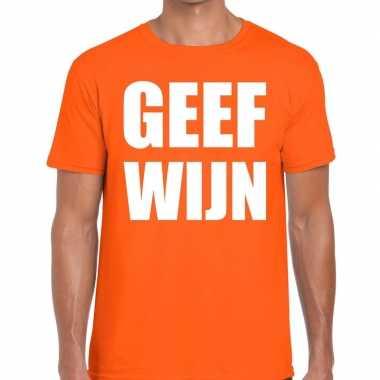 Geef wijn tekst t-shirt oranje heren