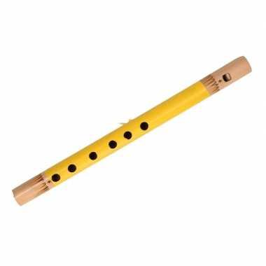 Geel bamboe fluitje 30 cm