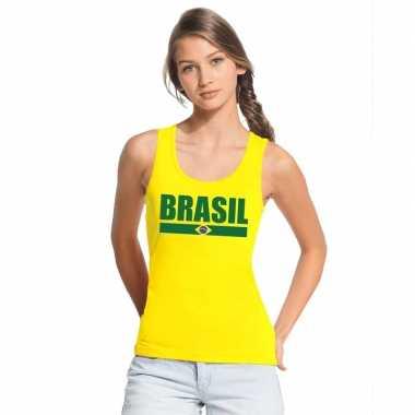 Geel brazilie supporter singlet shirt/ tanktop dames