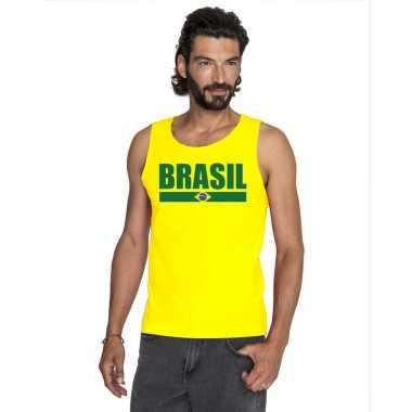 Geel brazilie supporter singlet shirt/ tanktop heren