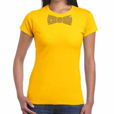 Geel fun t-shirt met vlinderdas in glitter goud dames