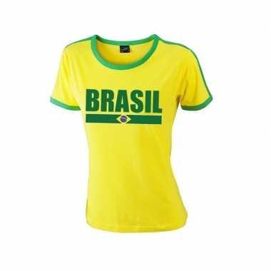 Geel/ groen brazilie supporter ringer t-shirt voor dames