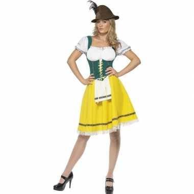 Geel/groen oktoberfest jurkje voor dames