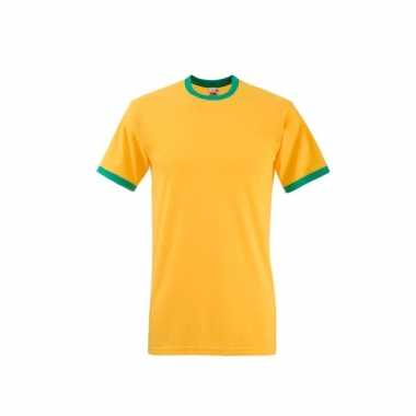 Geel ringer t-shirt met groene contrast kleur
