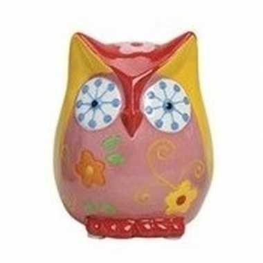 Geel/roze uilen spaarpot 9 cm