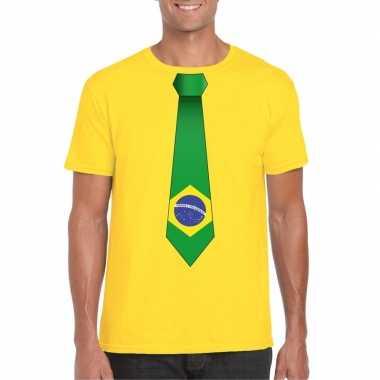 Geel t-shirt met brazilie vlag stropdas heren