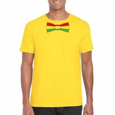Geel t-shirt met limburgse vlag strik voor heren