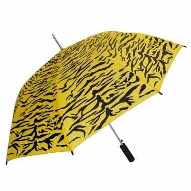 Geel/zwarte tijgerprint paraplu 80 cm