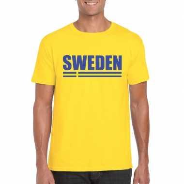 Geel zweden supporter t-shirt voor heren