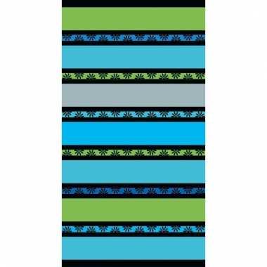 Gekleurd groene streepjes strandlaken 86 x 160