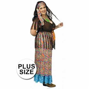 Gekleurd hippie grote maat dames pak
