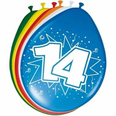 Gekleurde ballonnen 14 jaar 8 stuks