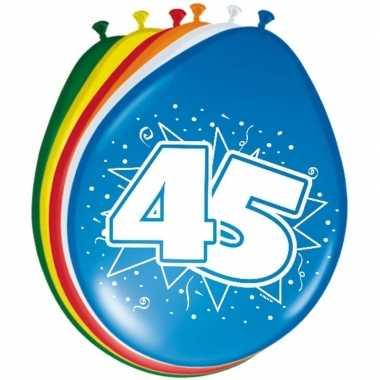 Gekleurde ballonnen 45 jaar 8 stuks