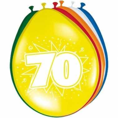 Gekleurde ballonnen 70 jaar 8 stuks