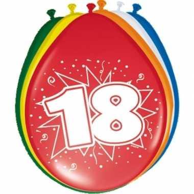 Gekleurde ballonnen versiering 18 jaar 24x stuks