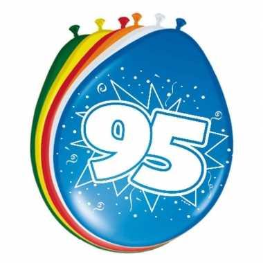Gekleurde ballonnen versiering 95 jaar 24x stuks