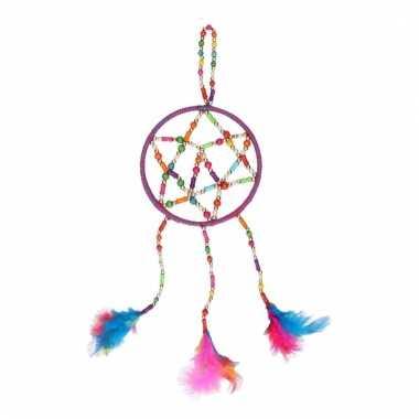 Gekleurde dromenvanger met veren 13 cm