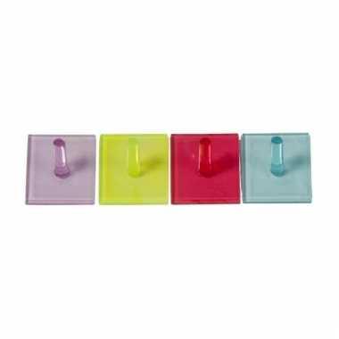 Gekleurde handdoekhaakjes vierkant