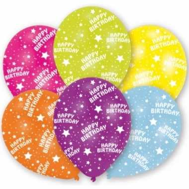 Gekleurde happy birthday ballonnen 6 stuks