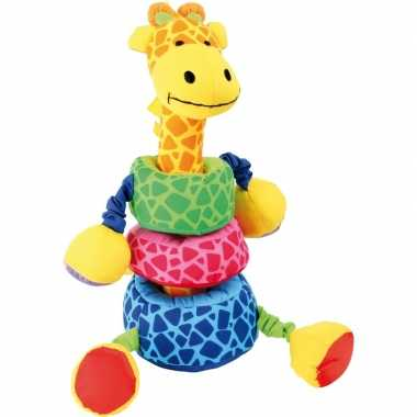 Gekleurde insteek giraffe 24 cm