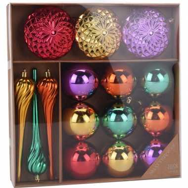 Gekleurde kerstversiering kerstballen multi color 15 stuks