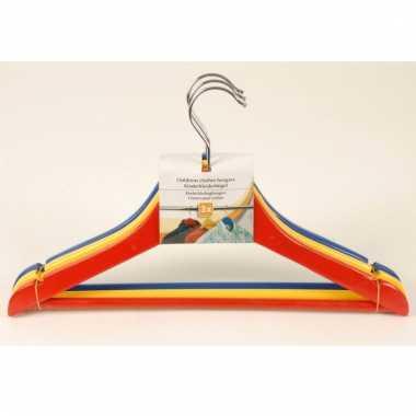 Gekleurde klerenhangers voor kinderen 3 stuks hout