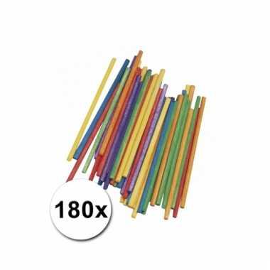 Gekleurde knutsel stokjes van hout 10 cm 180 st