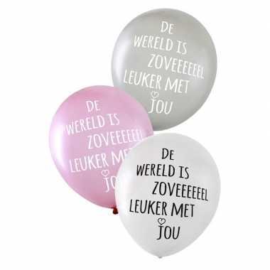 Gekleurde liefdes ballonnen de wereld is zoveel leuker met jou 6 stuk
