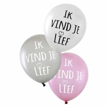 Gekleurde liefdes ballonnen ik vind je lief 6 stuks