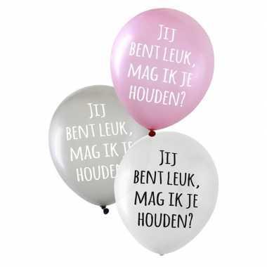 Gekleurde liefdes ballonnen jij bent leuk, mag ik je houden? 6 stuks