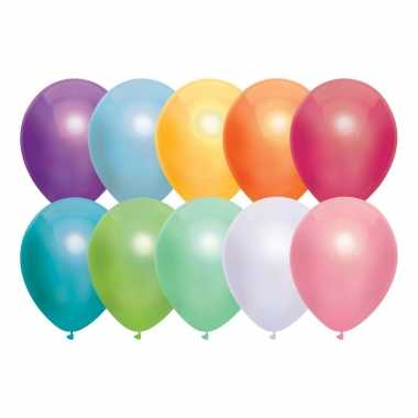 Gekleurde metallic ballonnen 30 cm 50 stuks