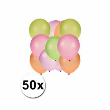 Gekleurde neon ballonnen 50 stuks