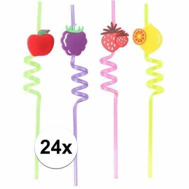 Gekleurde rietjes met fruitsoorten 24 stuks