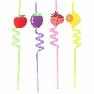 Gekleurde rietjes met fruitsoorten 4 stuks