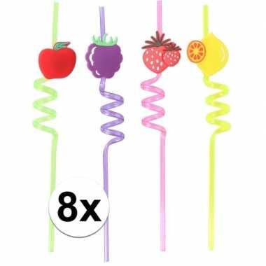 Gekleurde rietjes met fruitsoorten 8 stuks