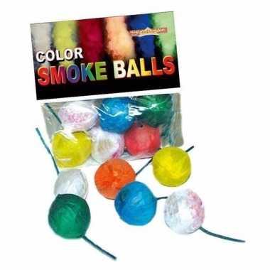 Gekleurde rookballetjes 24x stuks 8-12 sec