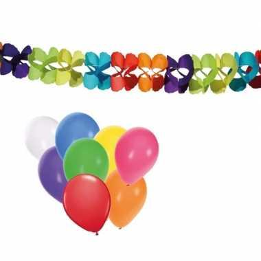 Gekleurde slinger 6m en ballonnen 8st in vrolijke kleuren