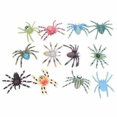 Gekleurde spinnetjes 12 stuks 4 cm