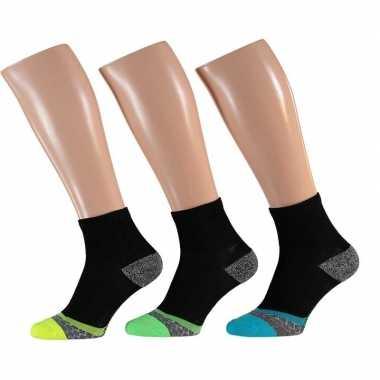 Gekleurde sport enkelsokken 3-pak voor volwassenen