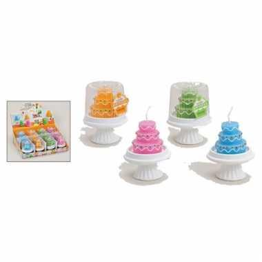Gekleurde taart kaarsjes 8 x 10 cm