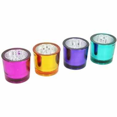 Gekleurde theelichtglazen 4 stuks