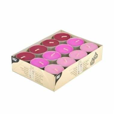 Gekleurde waxine lichtjes roze 24 stuks