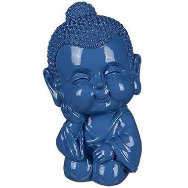 Geld spaarpot boeddha blauw 13 cm